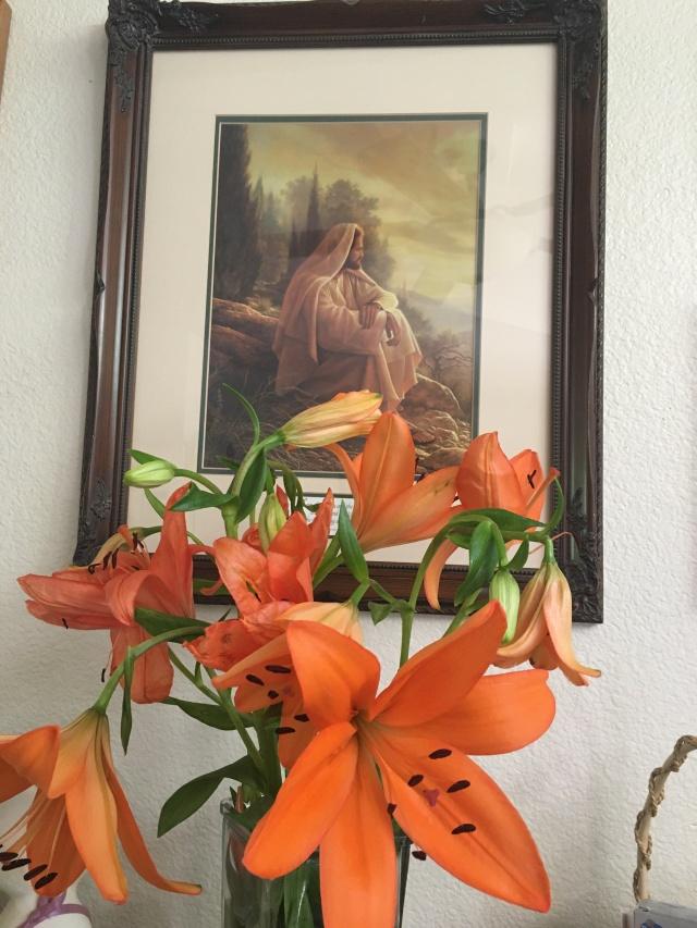 jesus with flowers